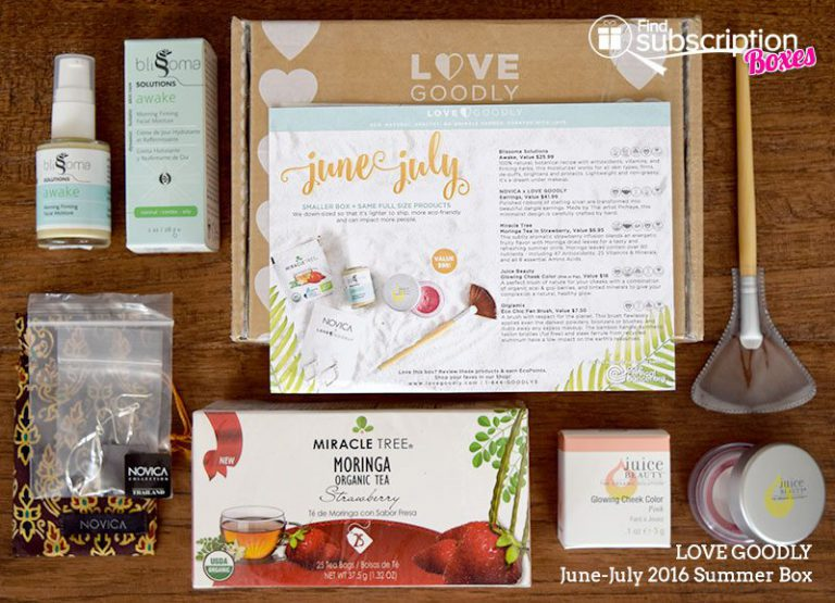 June-July 2016 LOVE GOODLY Review - Box Contents