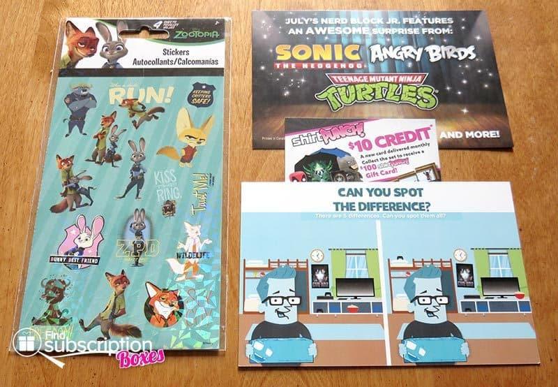 Nerd Block Jr. June 2016 Box Review - Stickers & Cards