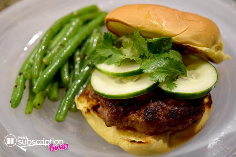 Blue Apron June 2016 Review - Ginger Pork Burgers with Black Bean Mayo & Furikake-Dressed Green Beans