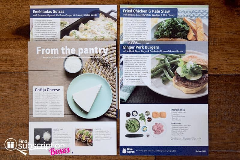 Blue Apron June 2016 Review - Recipe Cards