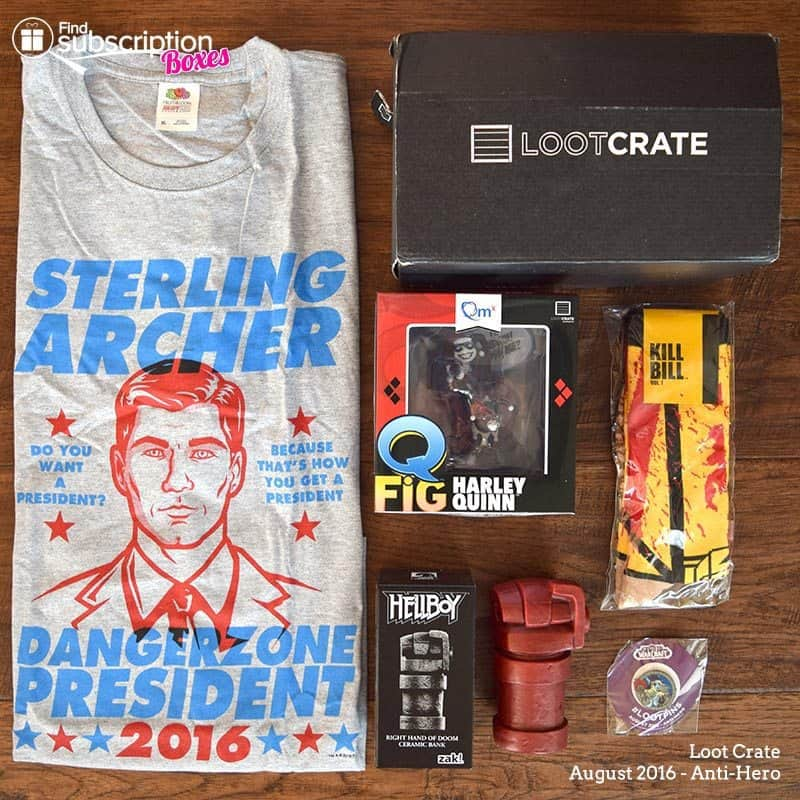 August 2016 Loot Crate Review - Anti-Hero Crate - Box Contents