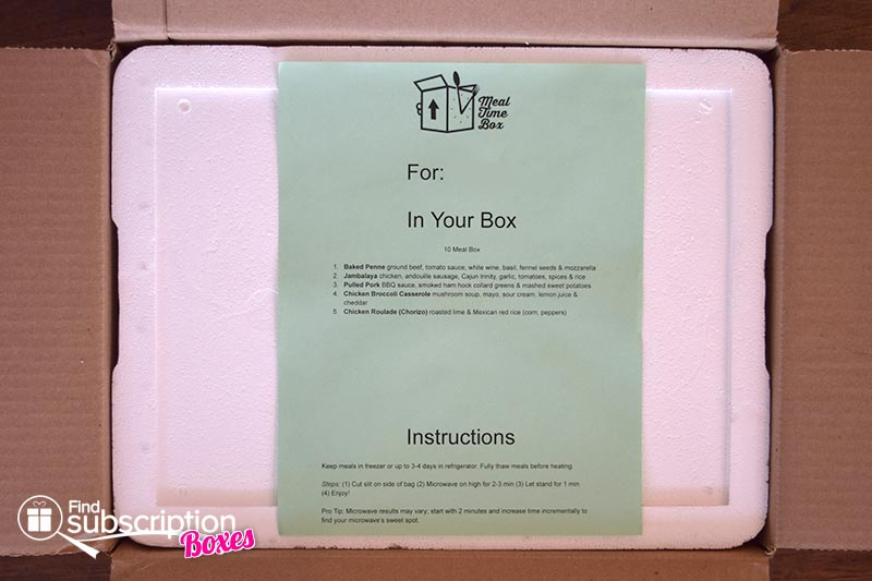 August 2016 Meal Time Box Review - Instructions