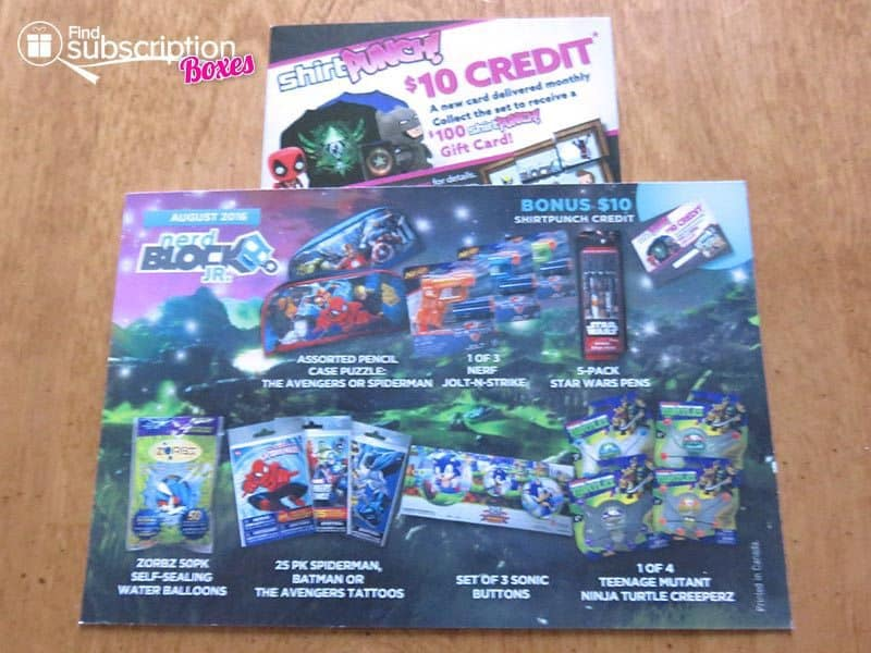 August 2016 Nerd Block Jr for Boys Review - Cards