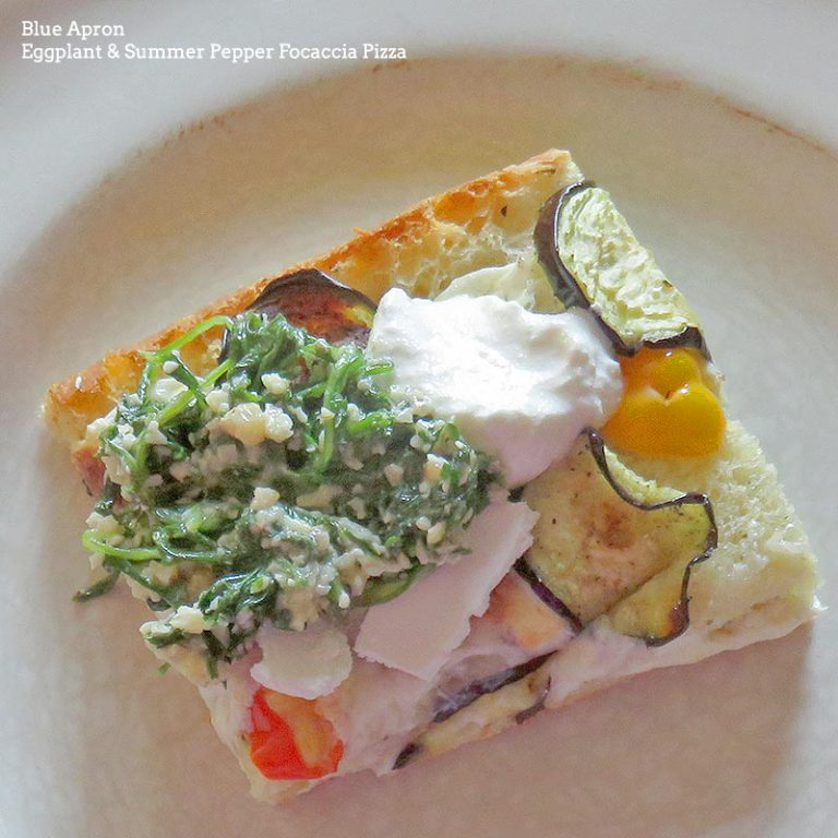 Blue Apron August 2016 Review - Week 3 - Eggplant & Summer Pepper Focaccia Pizza
