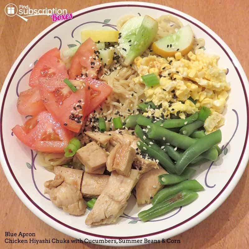 August 2016 Blue Apron Review - Chicken Hiyashi Chuka