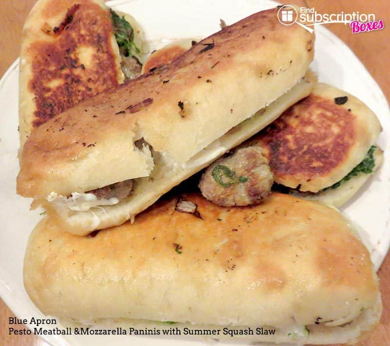 Blue Apron August 2016 Review - Pesto Meatball & Mozzarella Paninis