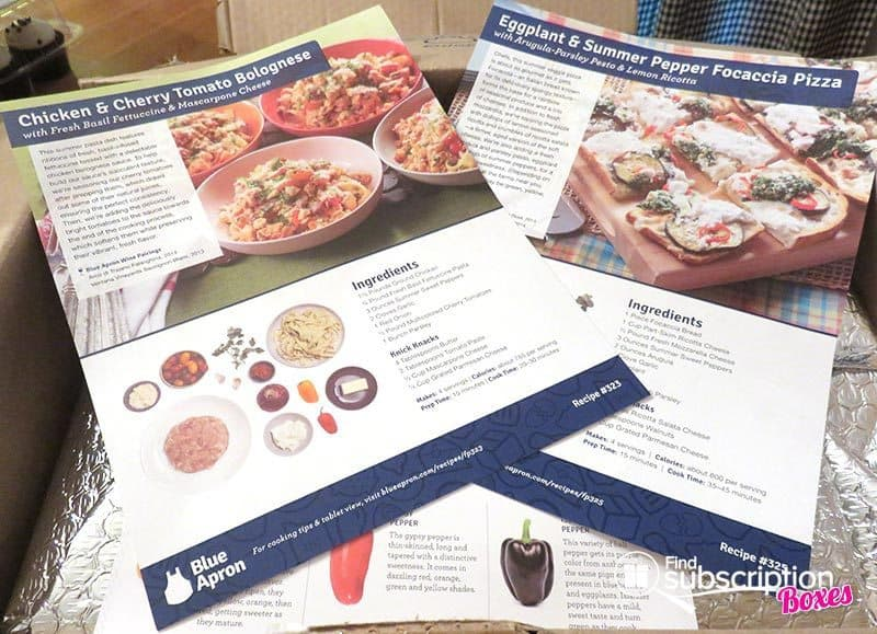 Blue Apron August 2016 Review - Week 3 - Recipe Cards