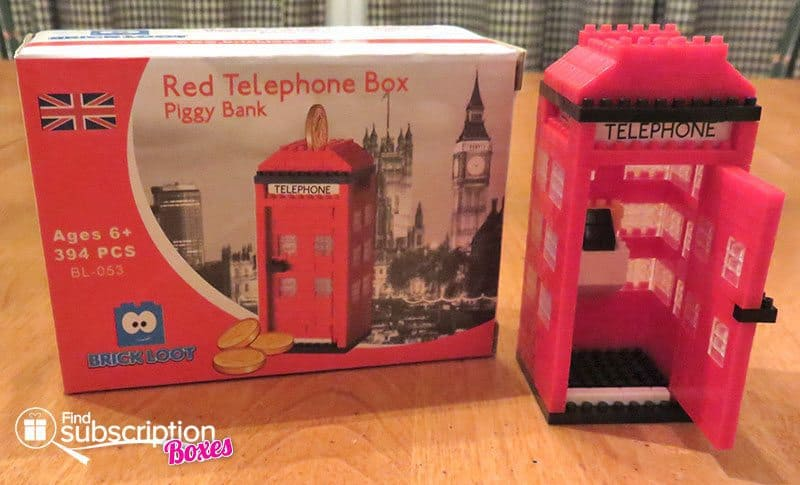 Brick Loot August 2016 Review - Red Telephone Box Piggy Bank