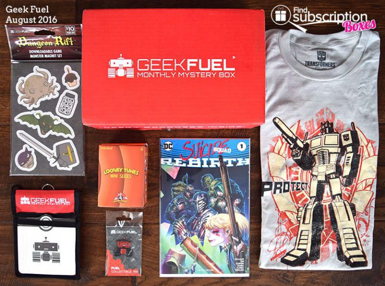 August 2016 Geek Fuel Box Review - Box Contents