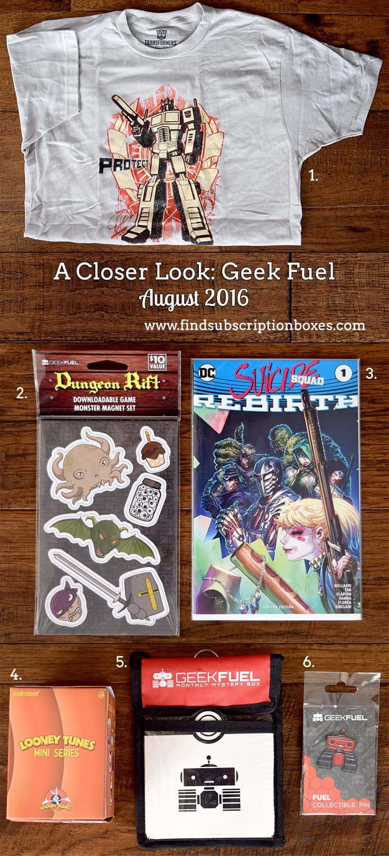 August 2016 Geek Fuel Box Review - Inside the Box