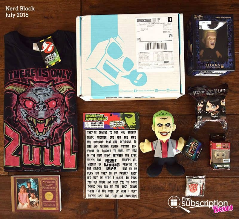 July 2016 Nerd Block Classic Block Review - Box Contents