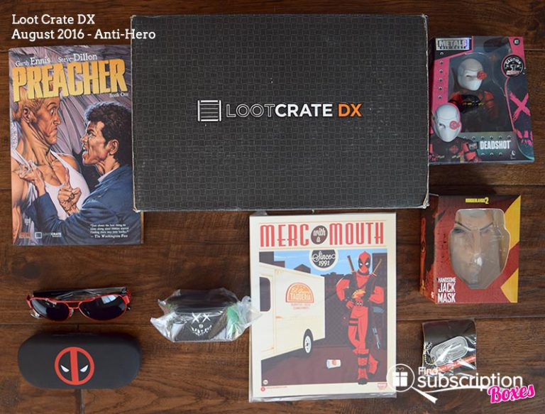 August 2016 Loot Crate DX Review - Anti-Hero - Box Contents
