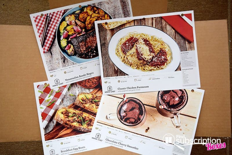 Home Chef August 2016 Review - Recipe Cards