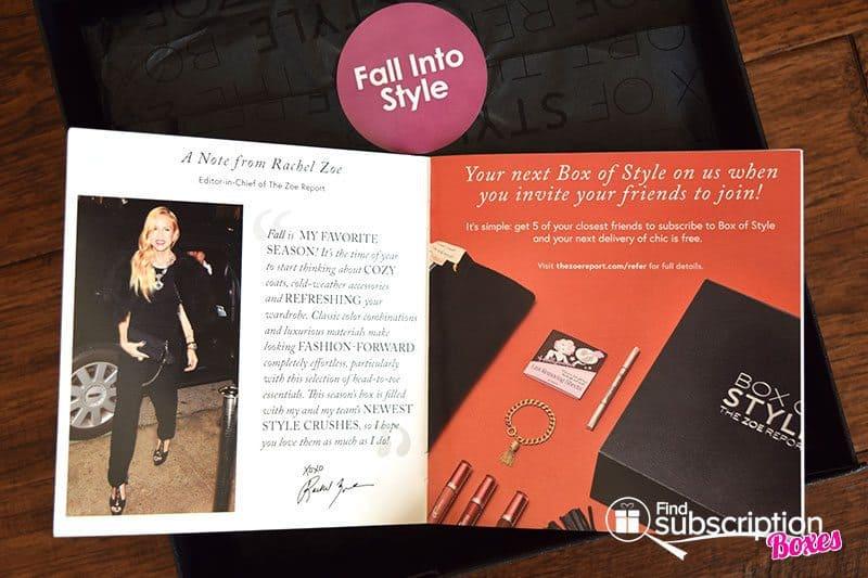 Rachel Zoe Fall 2016 Box of Style Review - Brcohure
