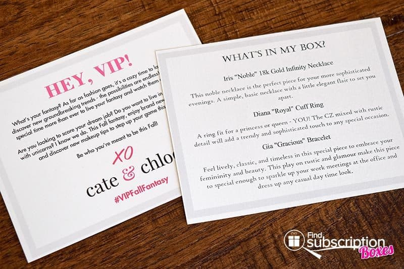 Cate & Chloe VIP Box October 2016 Review - Cards