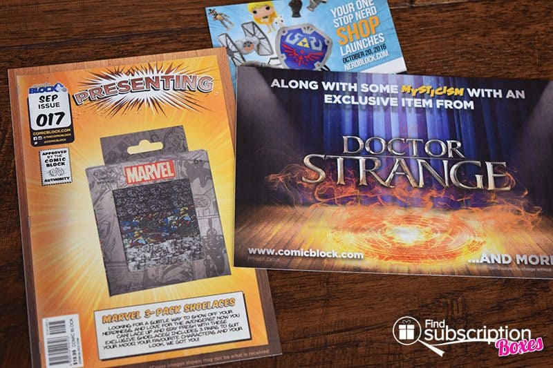 Comic Block September 2016 Box Review - Cards