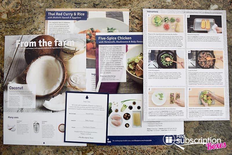 September 2016 Blue Apron Review - Recipe Cards