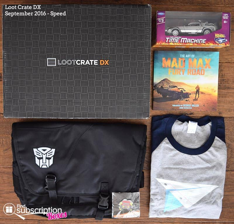 Loot Crate DX September 2016 Review - Speed - Box Contents