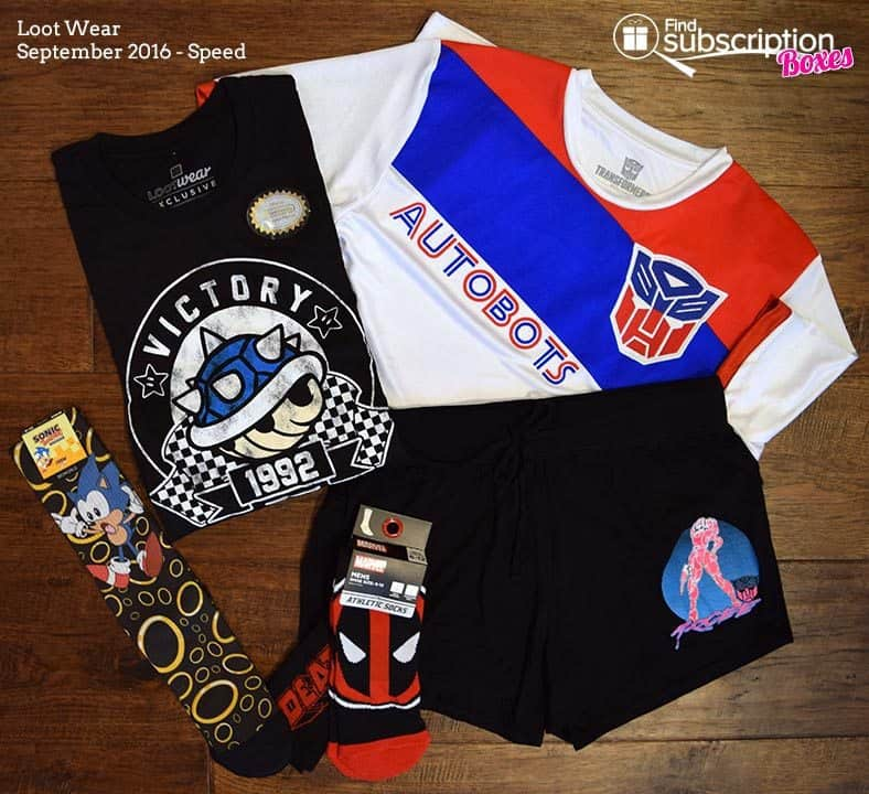 September 2016 Loot Wear Review - Speed - Contents