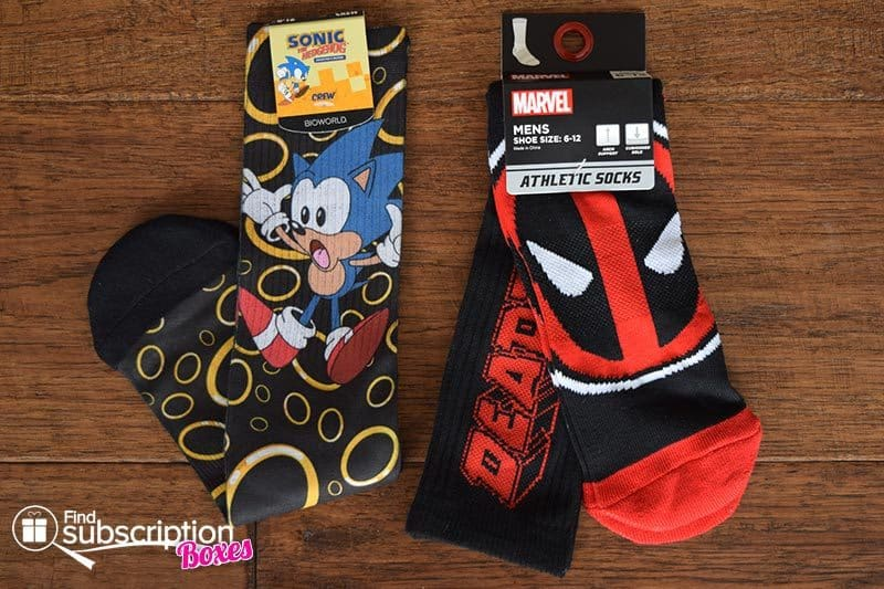 September 2016 Loot Socks - Sonic and Deadpool