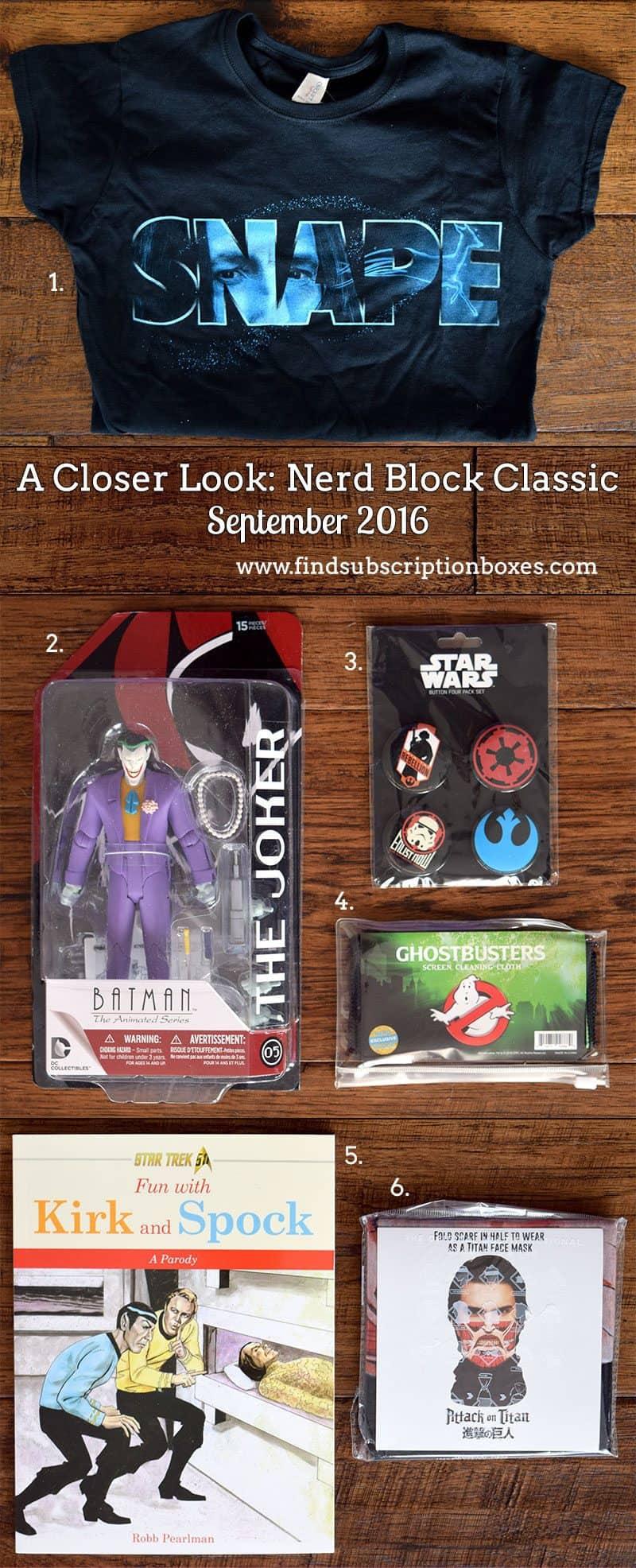 September 2016 Nerd Block Classic Review - Inside the Box