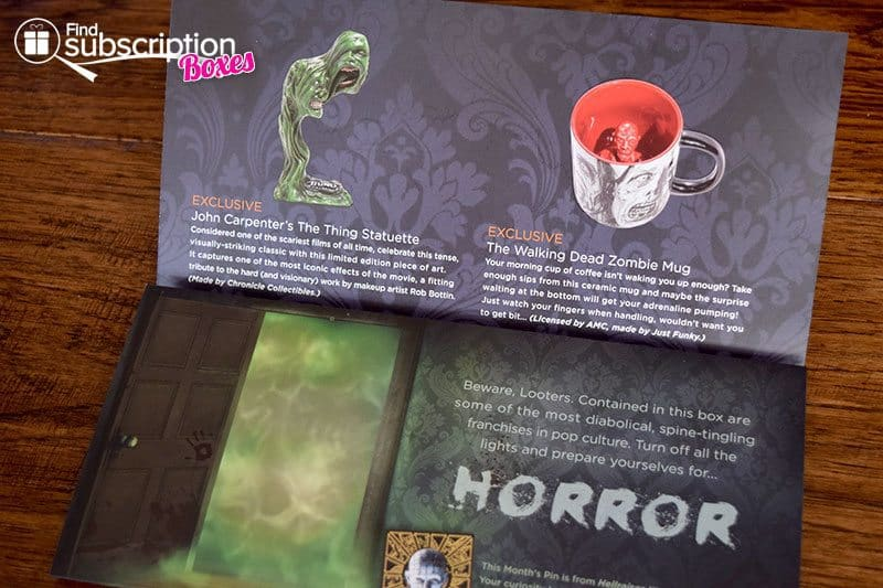 October 2016 Loot Crate DX Review - Horror Crate - Brochure