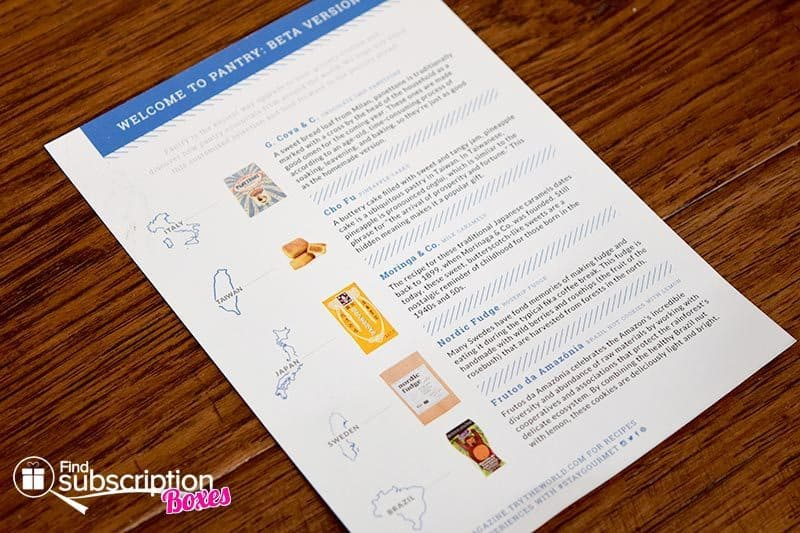 October 2016 Pantry by Try The World Review - Product Card