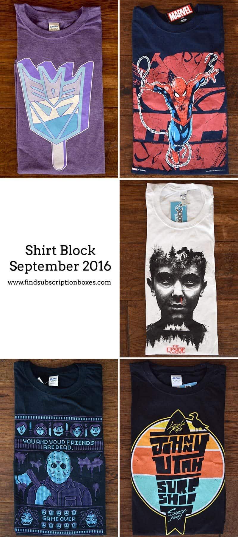 September 2016 Shirt Block Review - Inside the Box