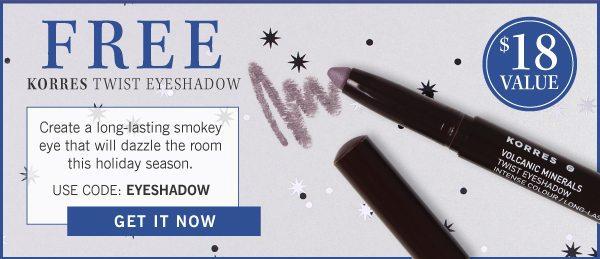 GLOSSYBOX December 2016 coupon - Free Korres Eyeshadow