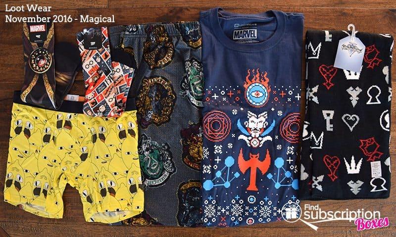 November 2016 Loot Wear Review - Box Contents