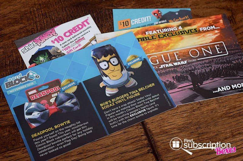 November 2016 Nerd Block Classic Review - Product Cards