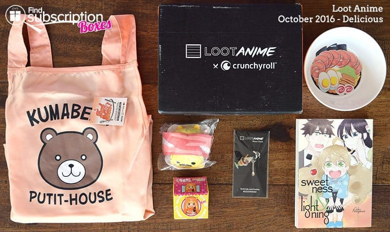 October 2016 Loot Anime Review - Delicious Crate - Box Contents