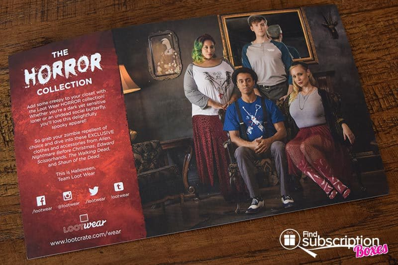 October 2016 Loot Wear Review - Horror - Card