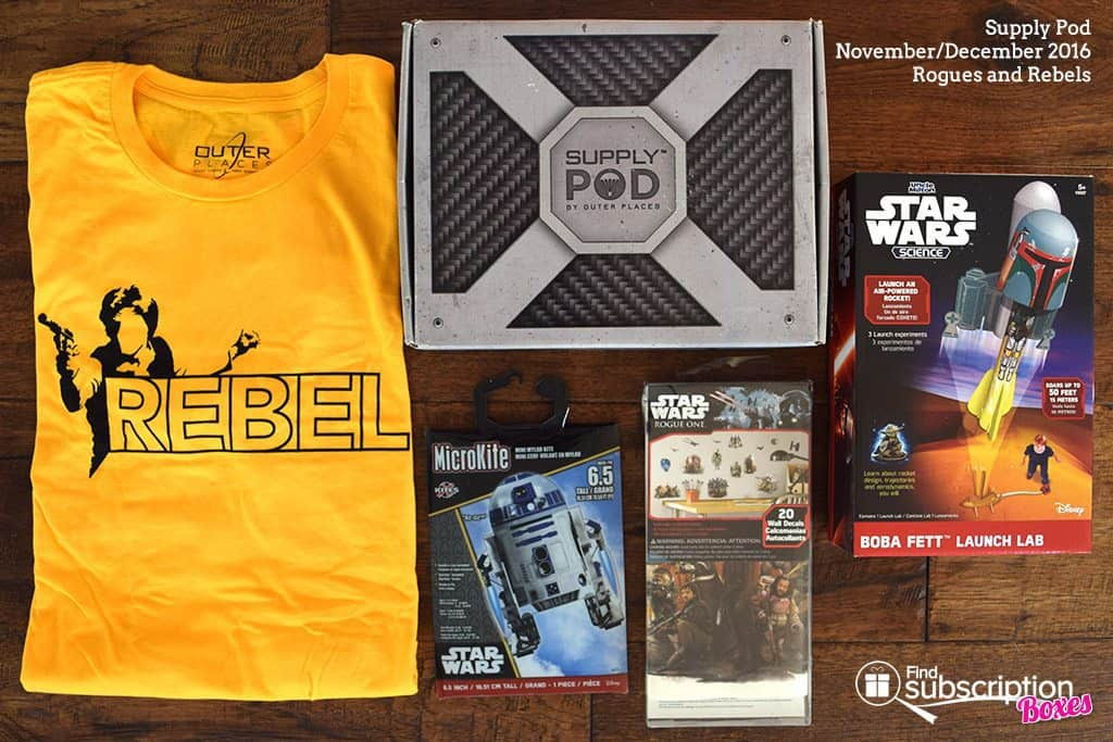 Supply Pod December 2016 Review - Rogues and Rebels - Box Contents