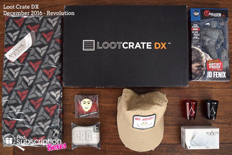 Loot Crate DX December 2016 Review - Revolution - Box Contents