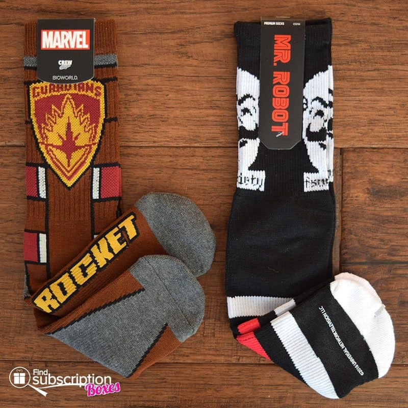 December 2016 Loot Wear Review - Loot Socks - Rocket and Mr. Robot