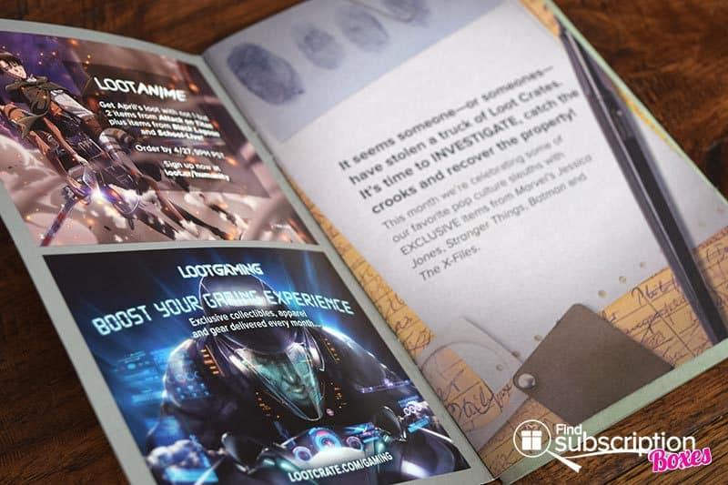 April 2017 Loot Crate Review – Investigate Crate - Brochure