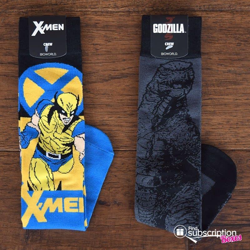 March 2017 Loot Wear Review - Primal - Loot Socks - X-Men and Godzilla