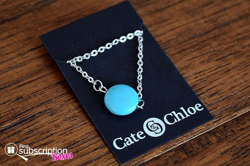 """July 2017 Cate & Chloe VIP Box Review - Wander Lust - Tatiana """"Bliss"""" 18k White Gold Plated Turquoise Necklace"""