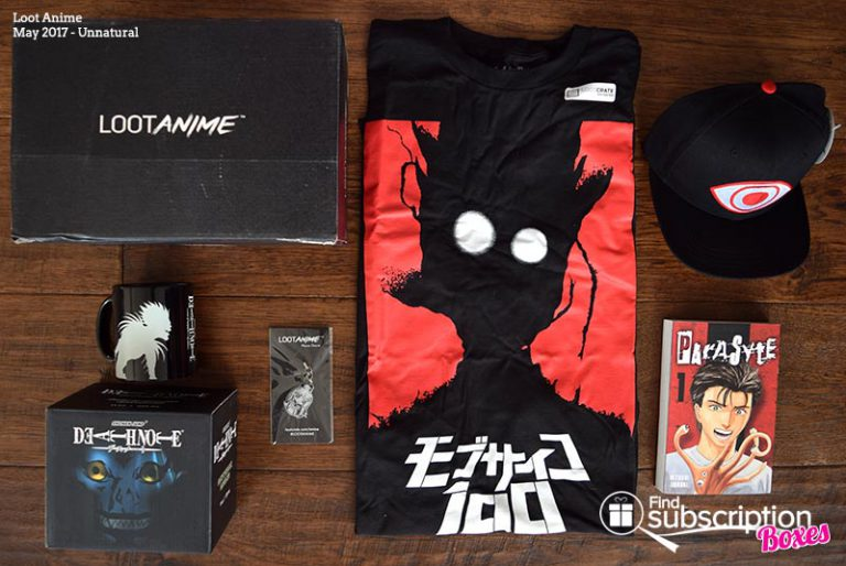 Inside the May 2017 Loot Anime Review - Unnatural Crate - Box Contents