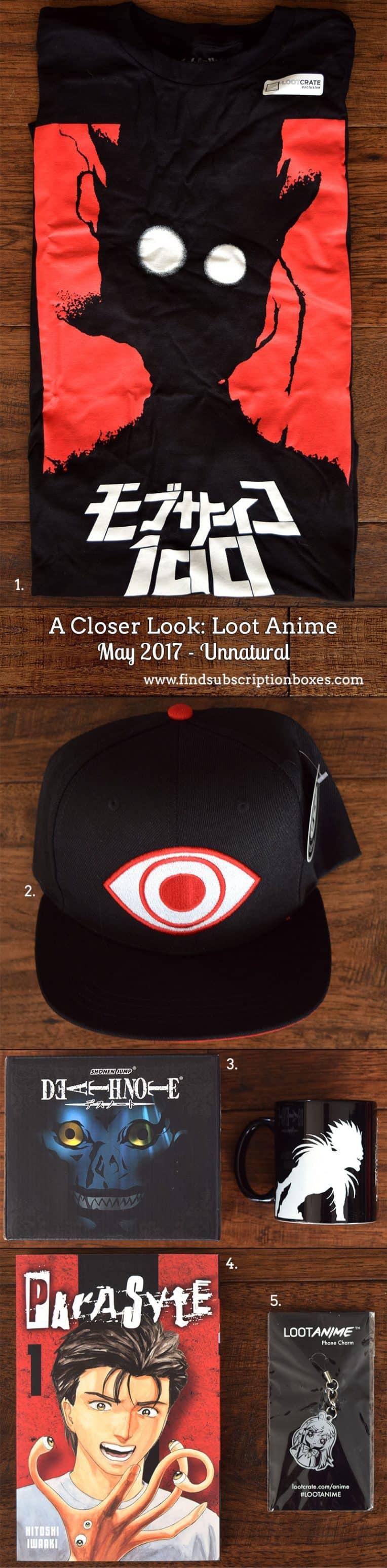 Inside the May 2017 Loot Anime Review - Unnatural Crate - Inside the Box