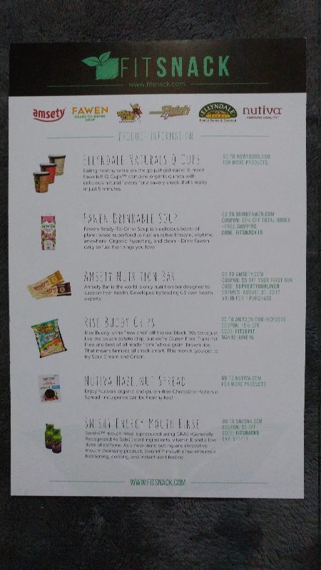 June 2017 Fit Snack Review - Card