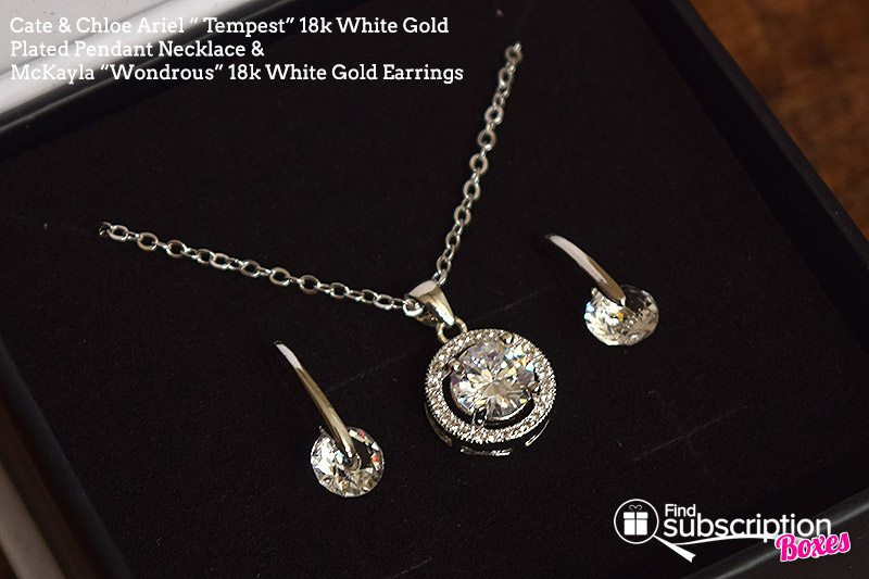 "August 2017 Cate & Chloe VIP Box Review – Summer Reminiscence - Ariel ""Tempest"" 18k White Gold Plated Pendant Necklace and McKayla ""Wondrous"" 18k Gold Earrings"