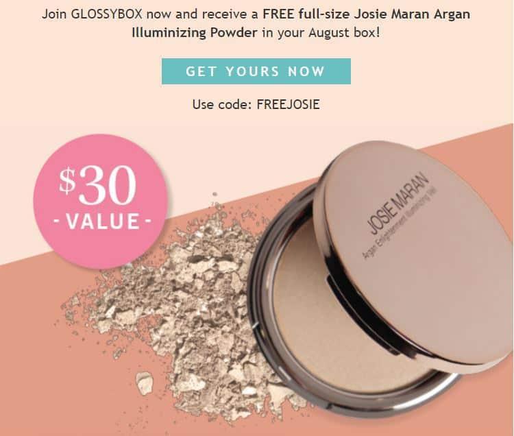 August 2017 GLOSSYBOX Coupon - Free Josie Maran Illuminizing Powder