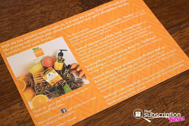 August 2017 Orange Peel Box Review - Rejuvenation - Card