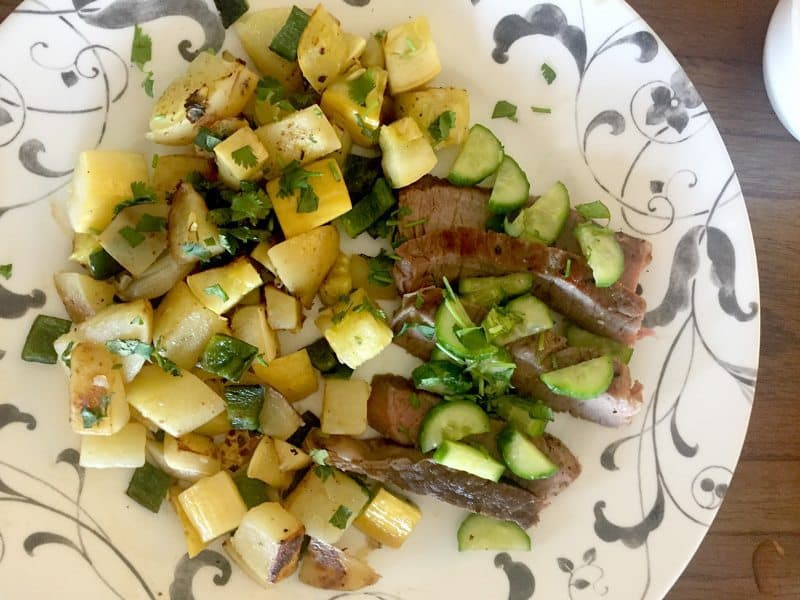 July 2017 Week 3 Blue Apron Review - Ribeye Steak & Spicy Vegetable Hash with Marinated Cucumber