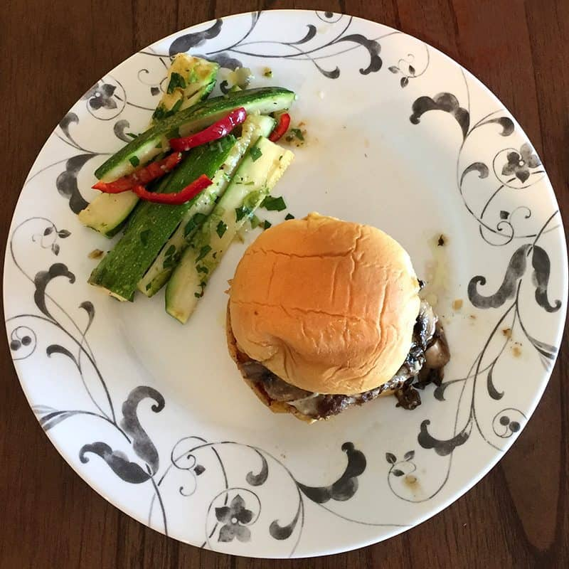 July 2017 Week 3 Blue Apron Review - Smoked Gouda Cheeseburgers with Summer Squash Slaw