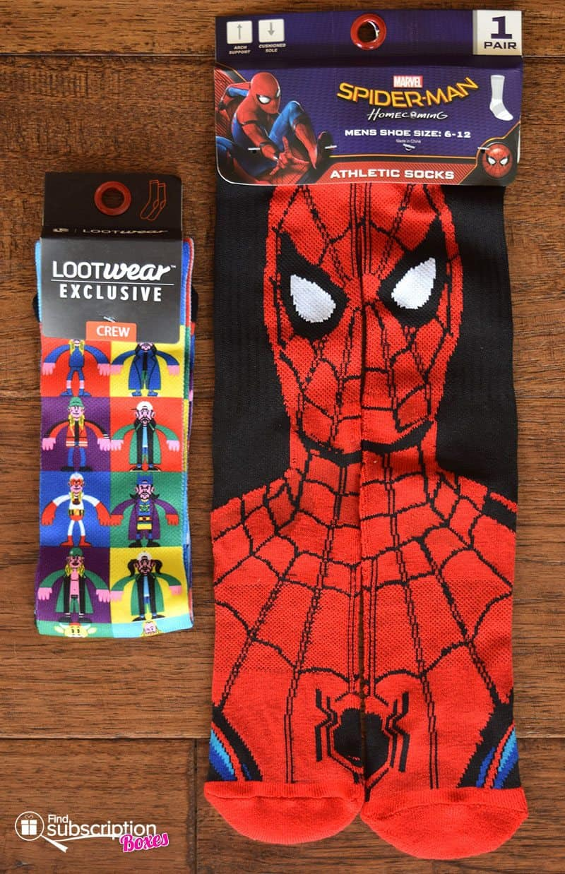 June 2017 Loot Wear Review - Alter Ego - Loot Socks - Jay and Slient Bob and Spider-Man