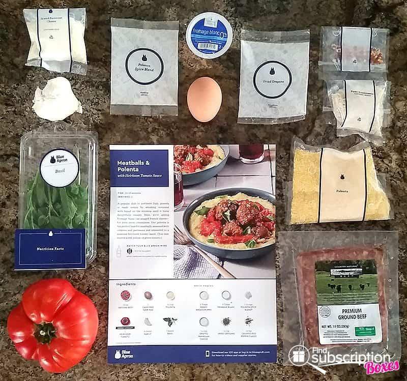 August 2017 Blue Apron Review - Meatballs & Polenta Ingredients