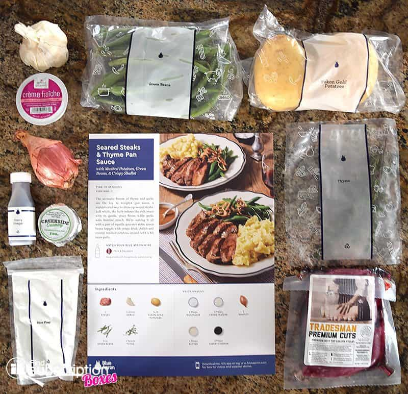 August 2017 Blue Apron Review - Seared Steak Ingredients